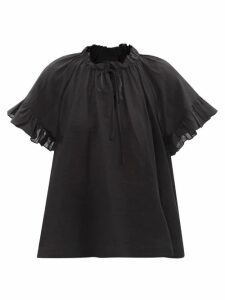 Prada - Contrast Collar Wool Blend Coat - Womens - Grey Multi