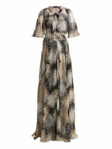 No. 21 - Chrysanthemum Print Silk Chiffon Maxi Dress - Womens - Black Multi