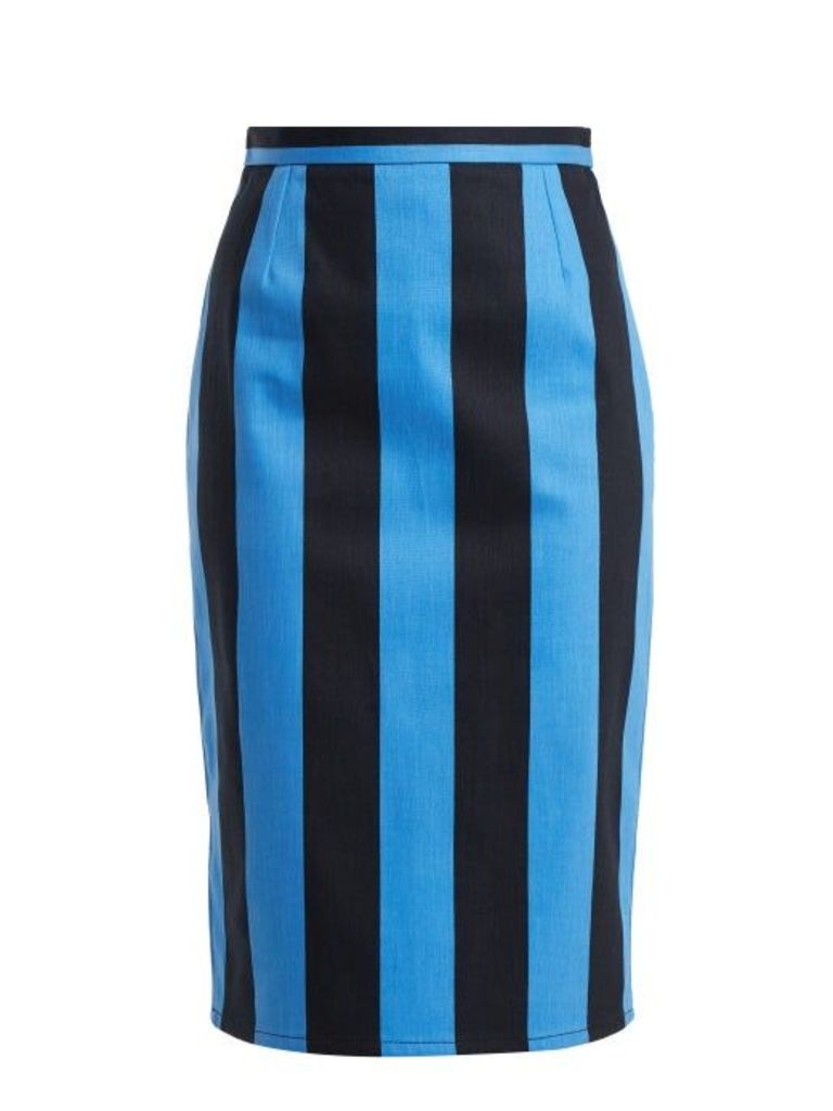 Prada - High Rise Striped Denim Pencil Skirt - Womens - Blue Multi