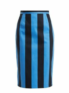 Prada - High Rise Striped Denim Pencil Skirt - Womens - Blue Multi