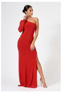 Womens **Slinky One Shoulder Maxi Dress By Club L - Red, Red