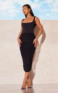 Black Slinky Second Skin Ruched Midi Skirt, Black