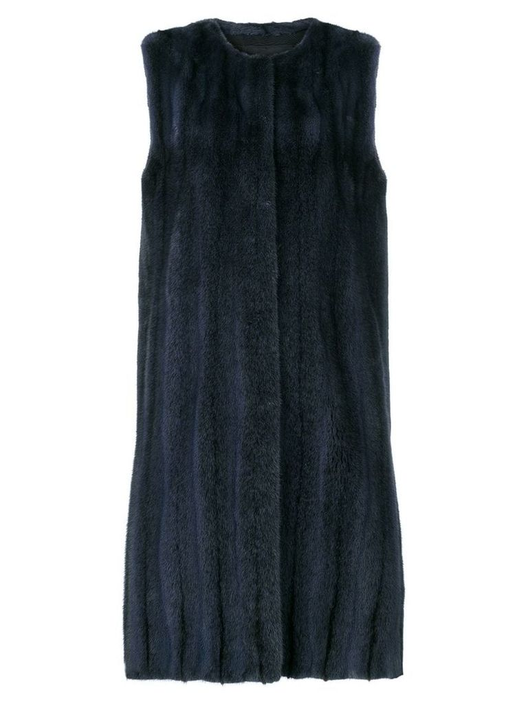Liska sleeveless fur coat - Blue