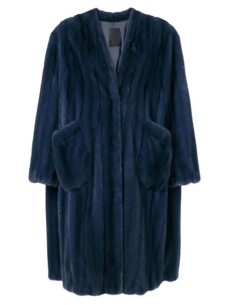 Liska Virginia fur coat - Blue