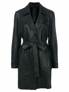 Vanderwilt belted midi leather coat - Black