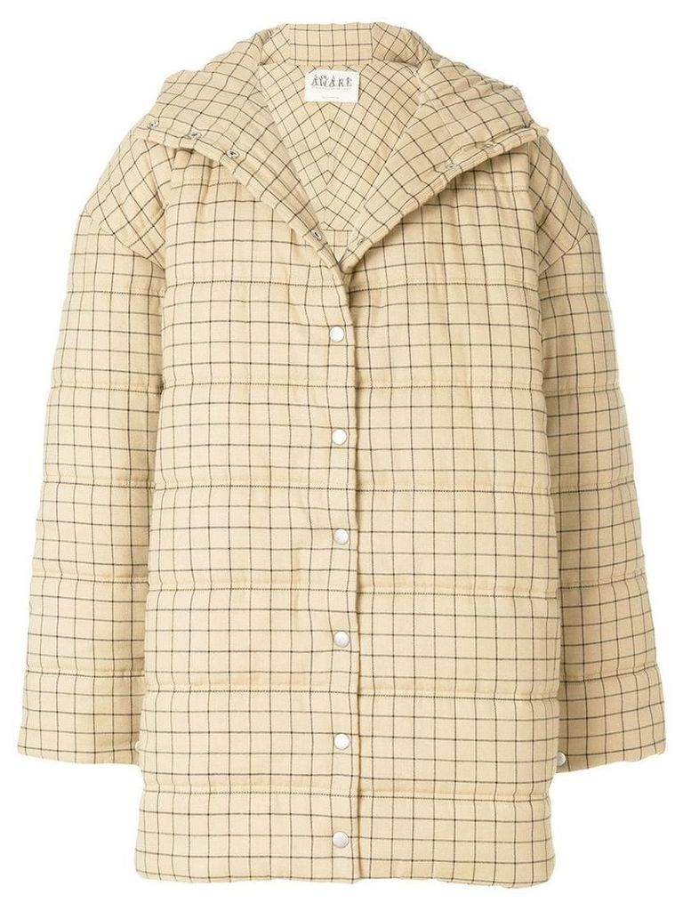 A.W.A.K.E. Mode oversized checked coat - Neutrals