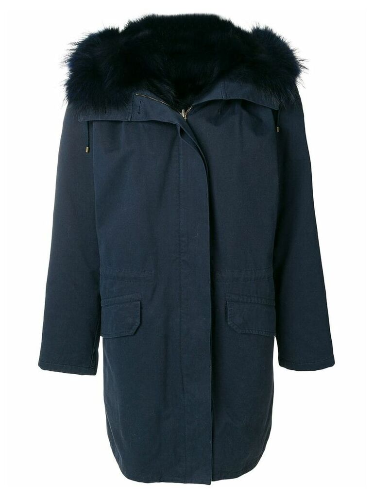 Yves Salomon Army fur trim parka - Blue