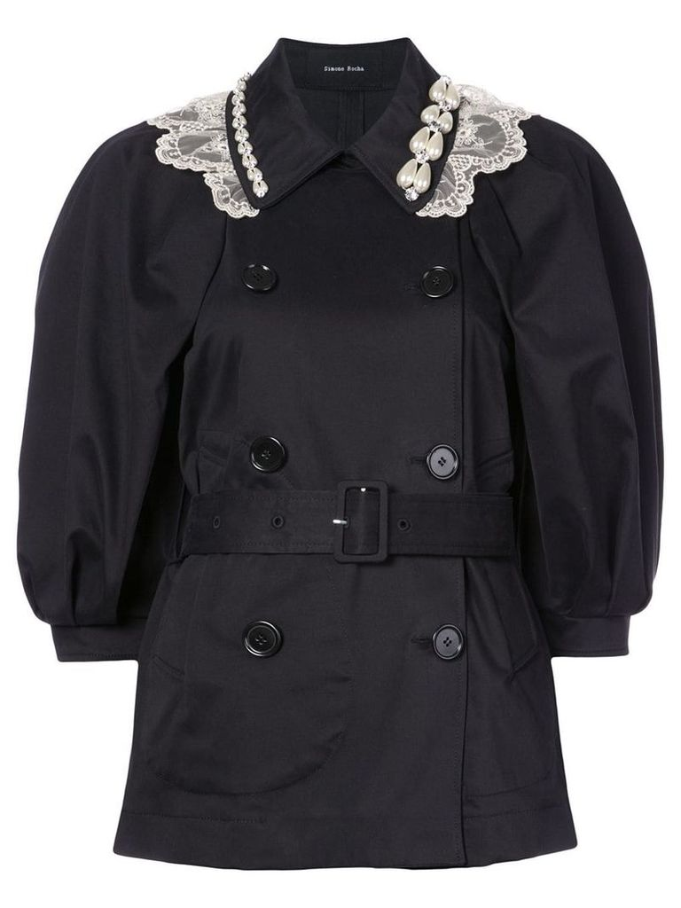 Simone Rocha double-breasted belted coat - Black