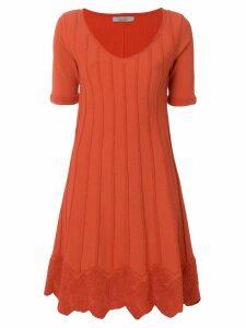 D.Exterior short-sleeve flared dress - Yellow