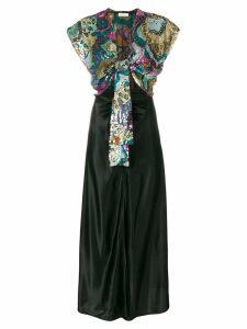 Attico front-tie sequin Georgette dress - Black