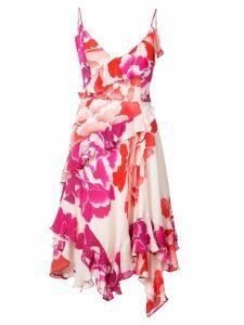 Josie Natori peony print ruffle dress - Pink