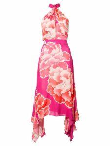 Josie Natori peony print halterneck dress - Pink