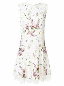 Ermanno Scervino floral print lace hem dress - White