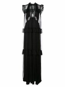 Vera Wang lace flared frill-trim dress - Black
