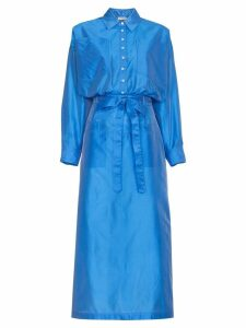 Attico Silk Button Down Shirt Dress - Blue