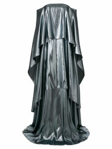 Alberta Ferretti layered off-shoulder gown - Metallic