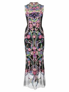 Marchesa Notte embroidered shift maxi dress - Black