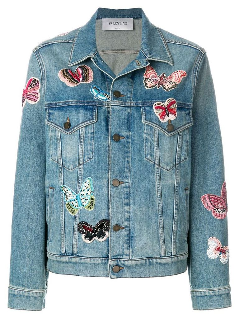 Valentino embroidered butterfly denim jacket - Blue