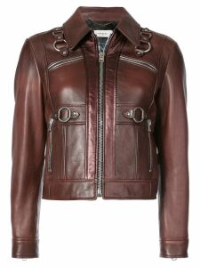 Coach harness detail leather jacket - Brown