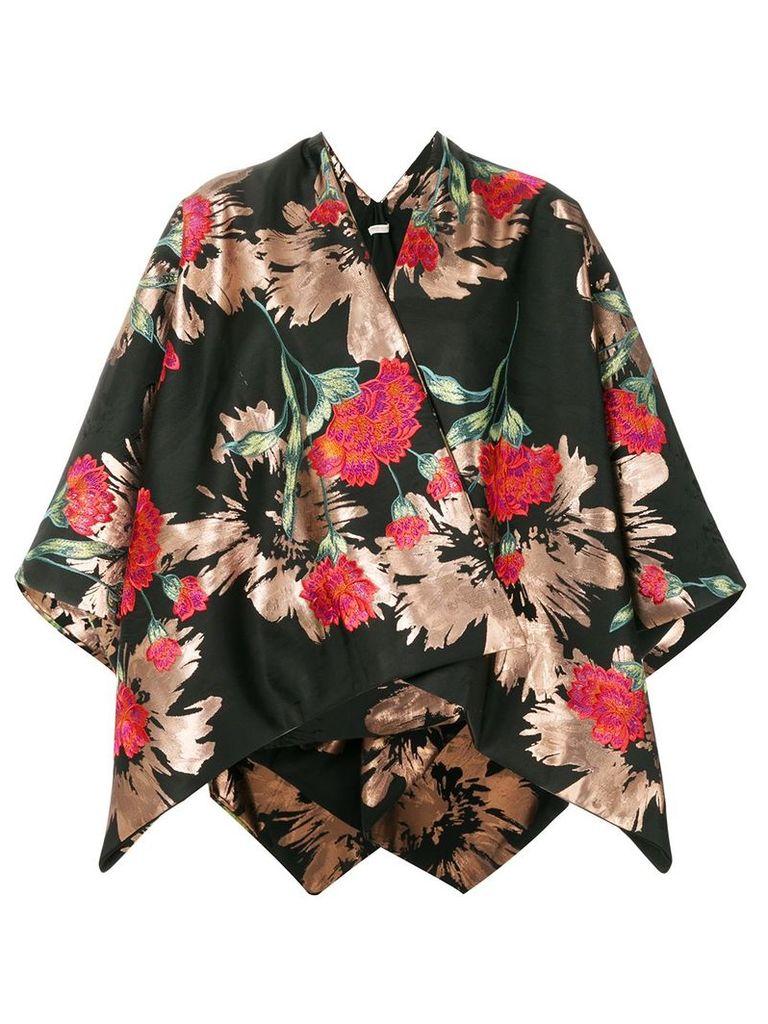 Ermanno Gallamini floral print kimono jacket - Black