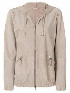 Eleventy hooded zipped jacket - Neutrals