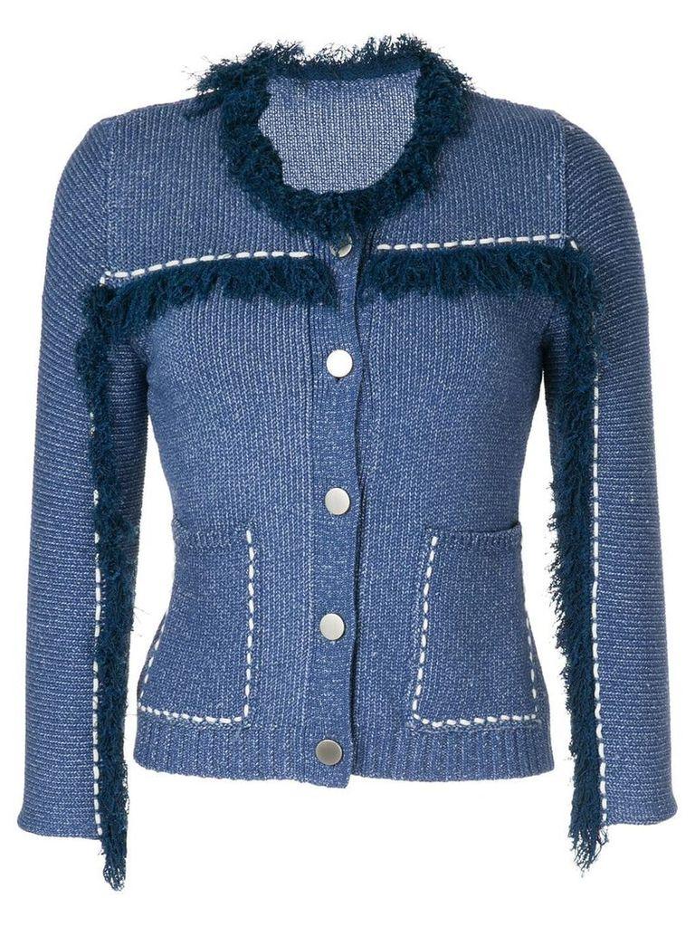 Onefifteen fringe trim cardigan - Blue