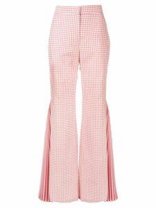 Sara Battaglia gingham pleated flared trousers - Pink
