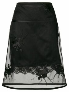 Helmut Lang floral embroidered layered skirt - Black
