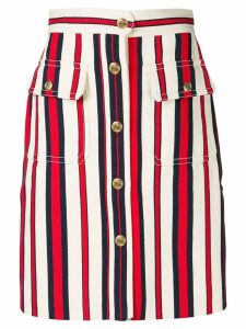Gucci A-line striped denim skirt - White