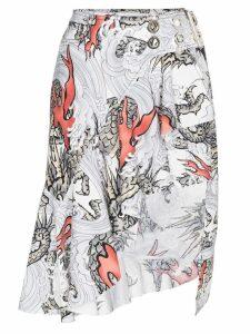 Marques'Almeida Cotton asymmetric skirt with belt - Grey