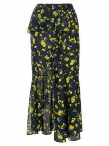 Goen.J floral printed asymmetric skirt - Blue