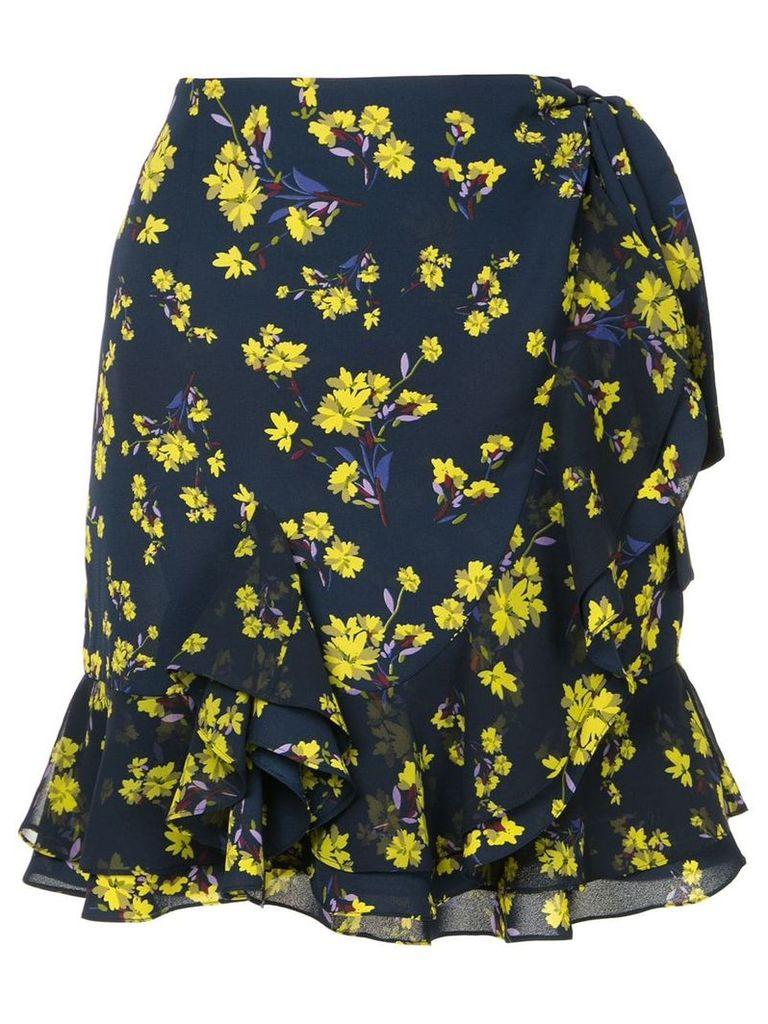 Goen.J floral printed ruffled wrap skirt - Blue