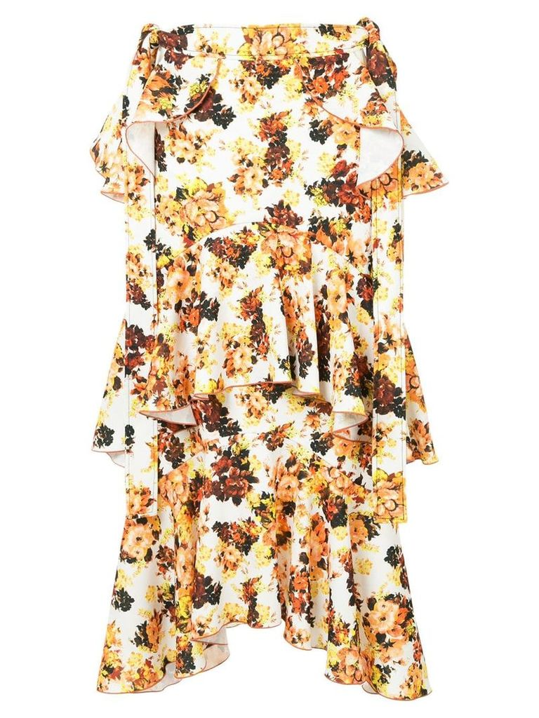 Ellery printed saloon ruffle skirt - Yellow