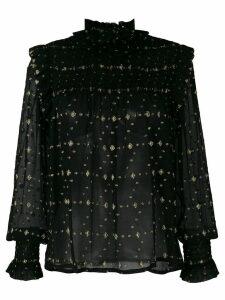 Saint Laurent smocked diamonds fil coupe blouse - Black