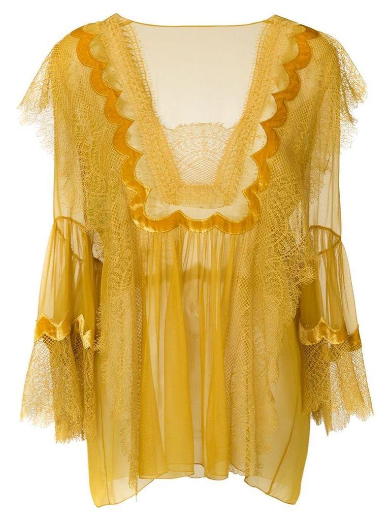 Alberta Ferretti lace trim sheer blouse - Yellow