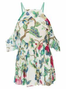 Semicouture cold-shoulder floral-print top - Neutrals