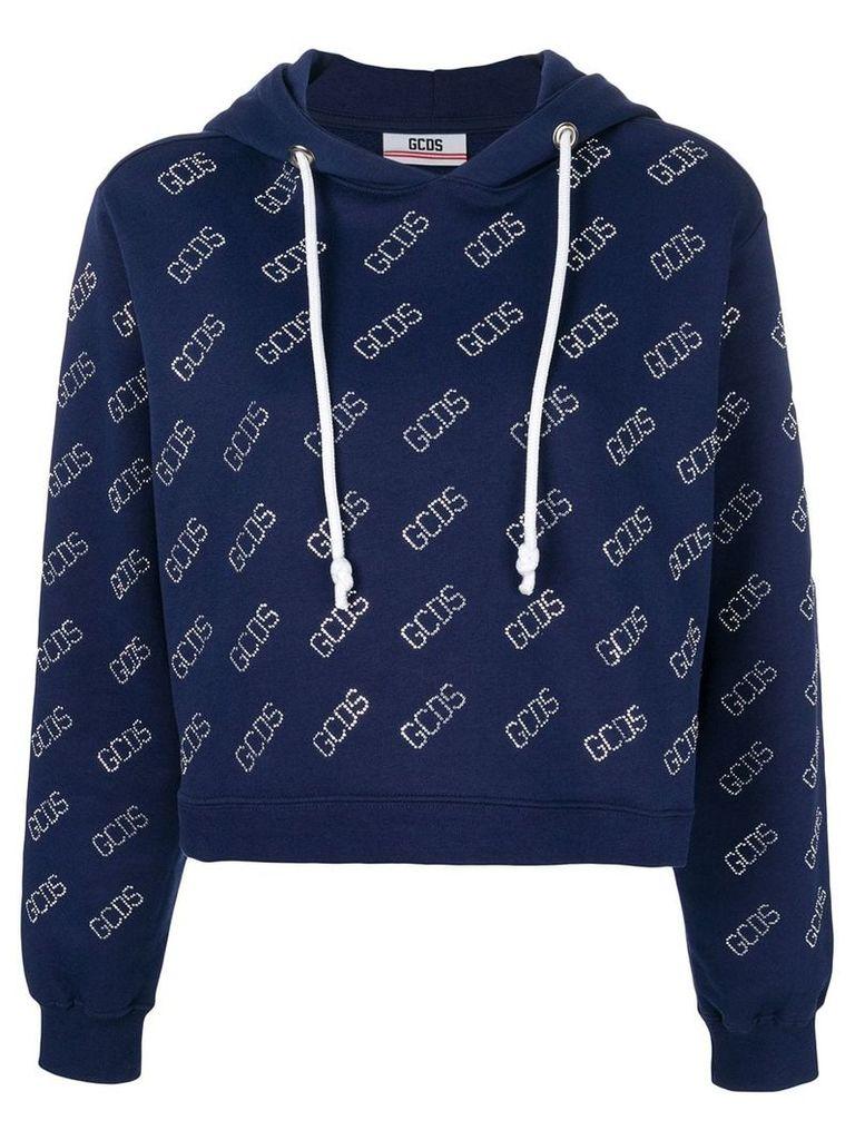 Gcds diamante logo cropped hoody - Blue