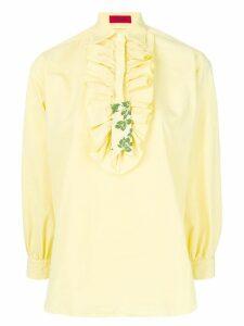 The Gigi ruffle bib shirt - Yellow