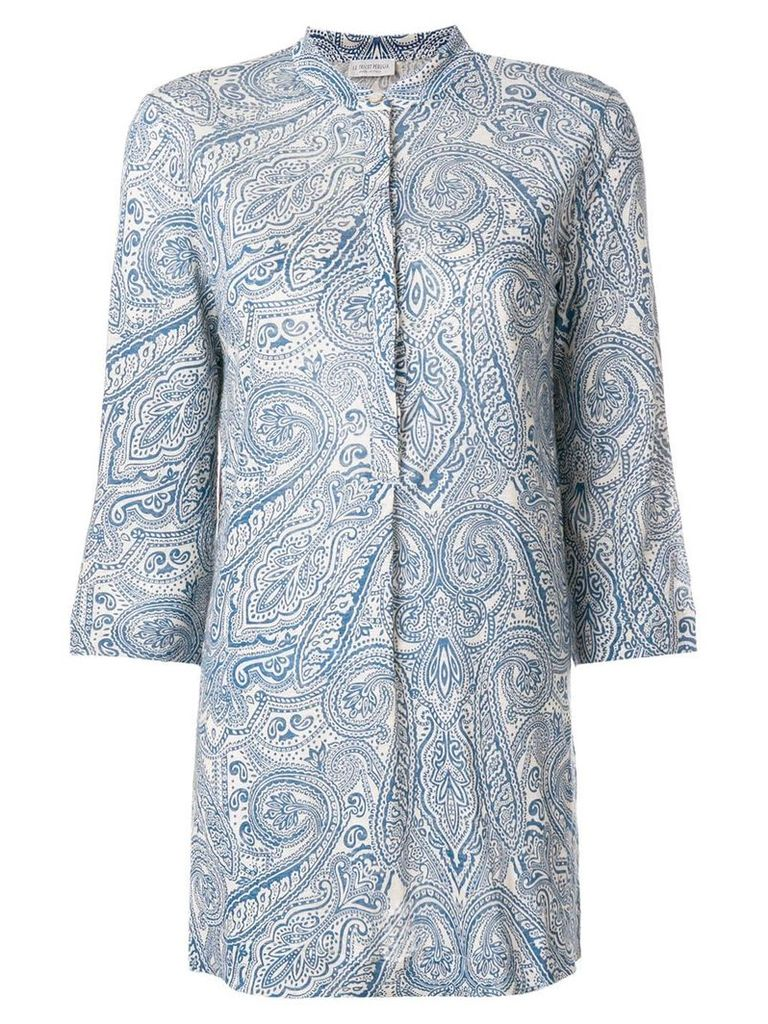 Le Tricot Perugia paisley-print fitted shirt - Blue