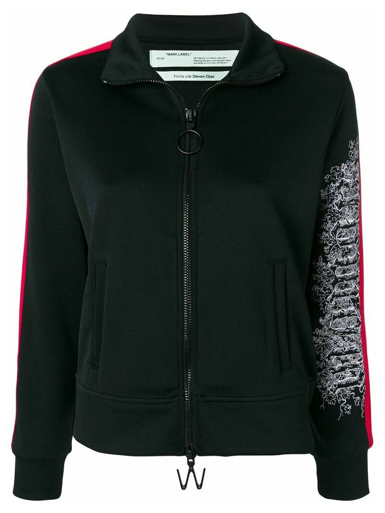 Off-White embroidered sleeve zipped sweatshirt - Black