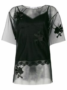 Helmut Lang floral embroidered layered T-shirt - Black