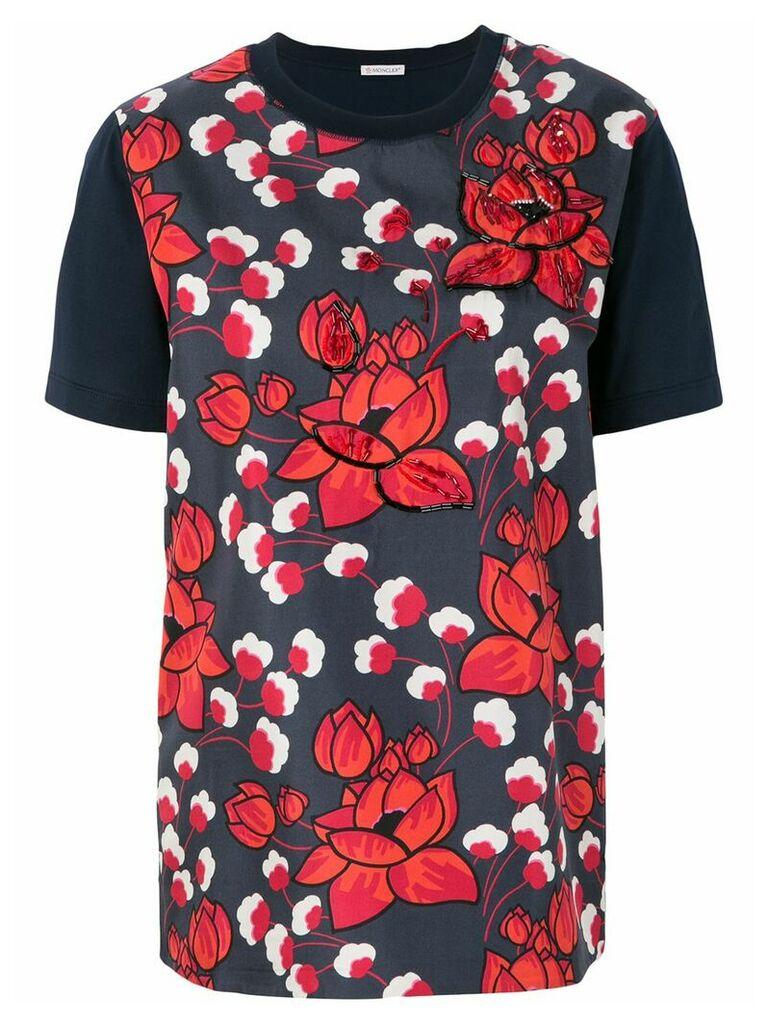 Moncler floral appliqué T-shirt - Blue