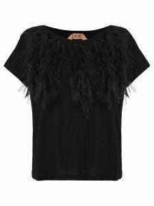 Nº21 feather detail T-shirt - Black