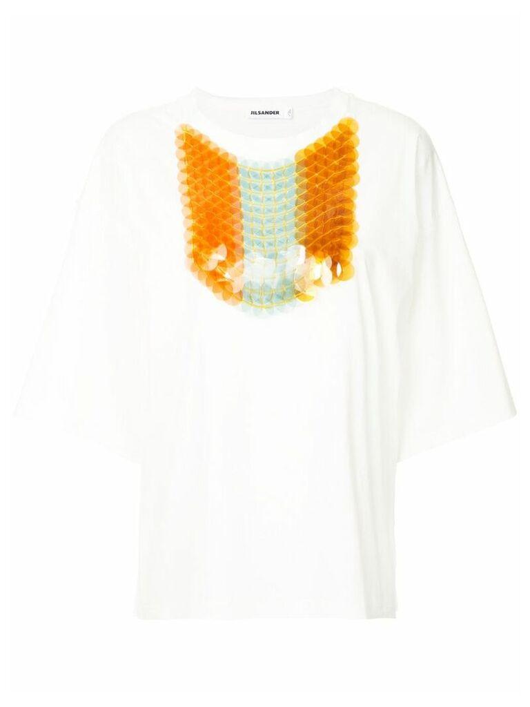 Jil Sander pailette sequin T-shirt - White