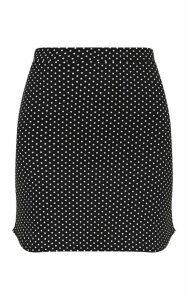 Black Polkadot Curve Hem Mini Skirt, Black
