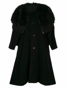 Comme Des Garçons Pre-Owned faux fur cape coat - Black