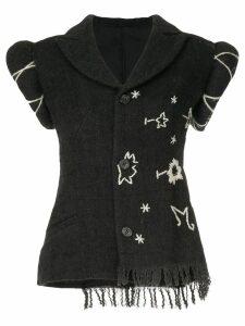 Yohji Yamamoto Pre-Owned embroidered short sleeve jacket - Grey