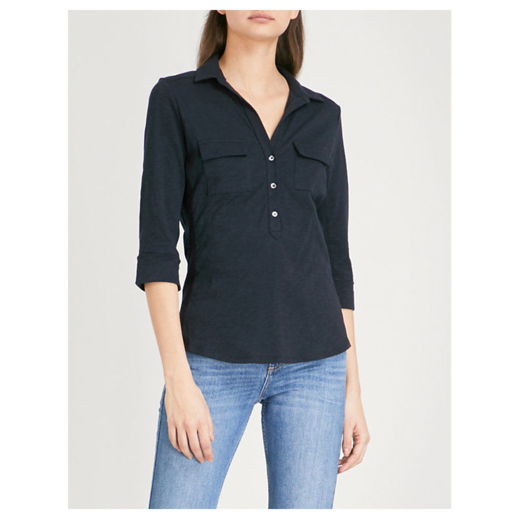 Rolled-sleeve cotton shirt