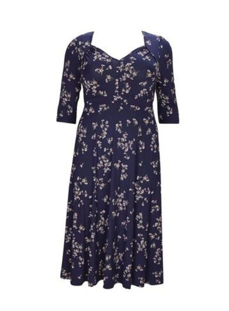 **Scarlett & Jo Navy Blue Floral Fit And Flare Dress, Purple