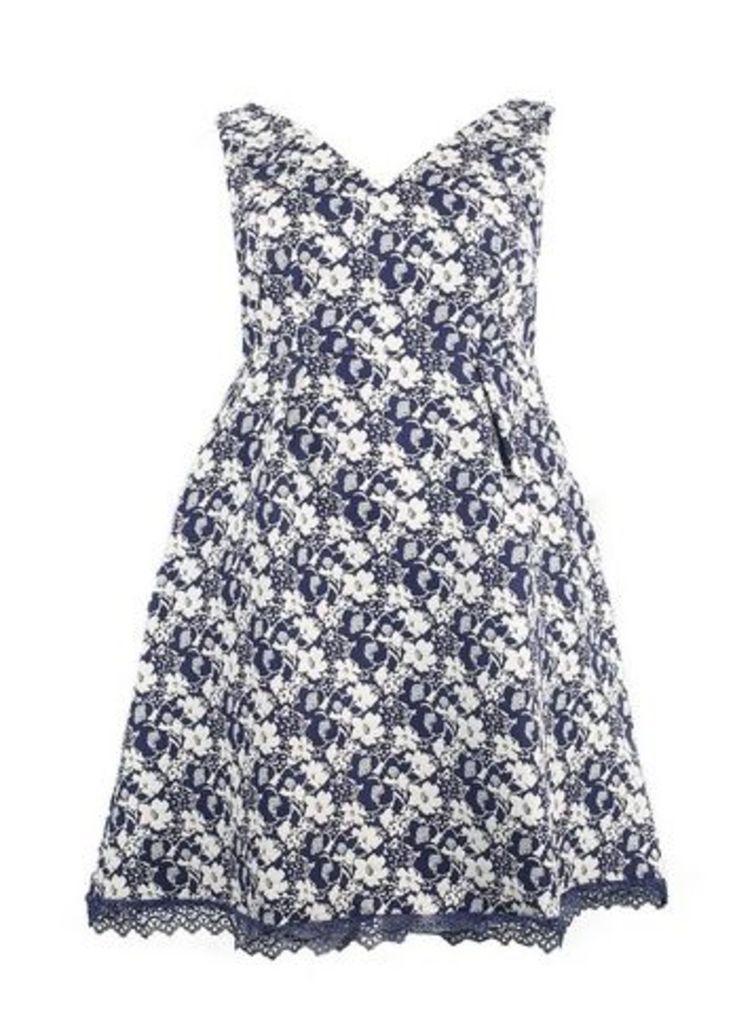 **Lovedrobe Blue Jacquard Skater Dress, Navy/White